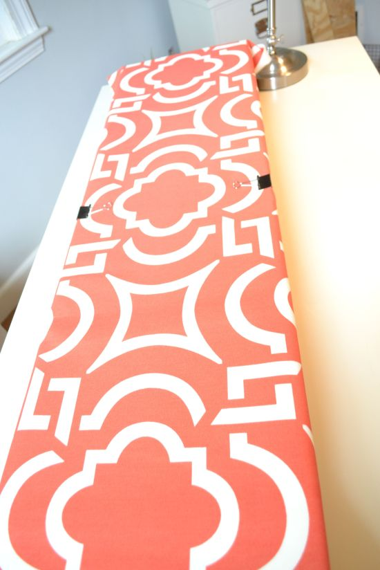 DIY Cornice Boards- Attaching fabric with clips